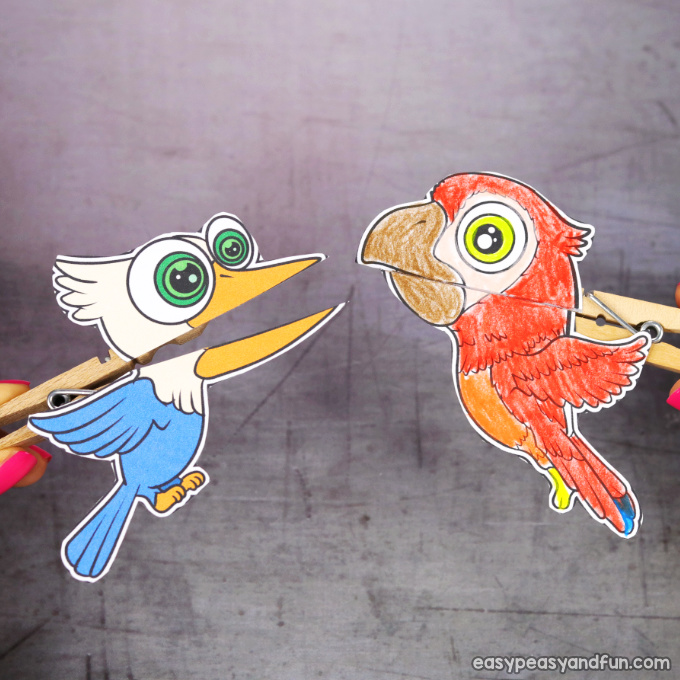 Clothespin Bird Puppets Printable