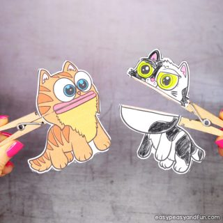 Clothespin Cat Puppets Printable