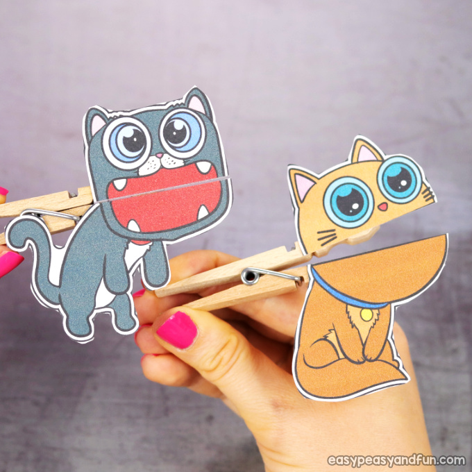 Clothespin Cat Puppets
