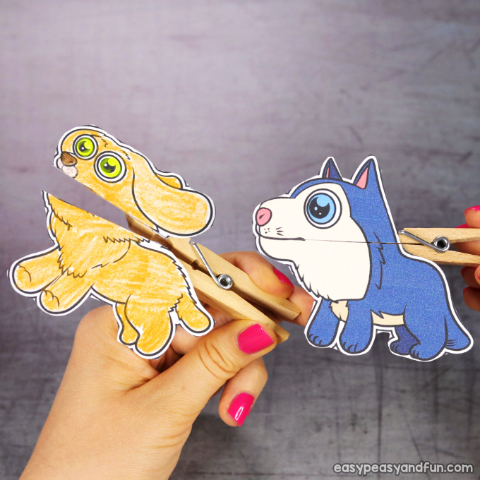 Clothespin Dog Puppets