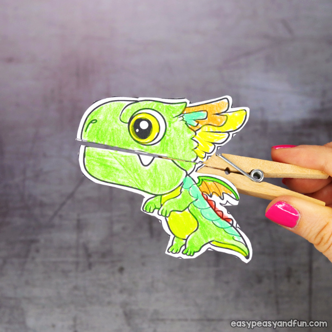 Clothespin Dragon Puppet Printable