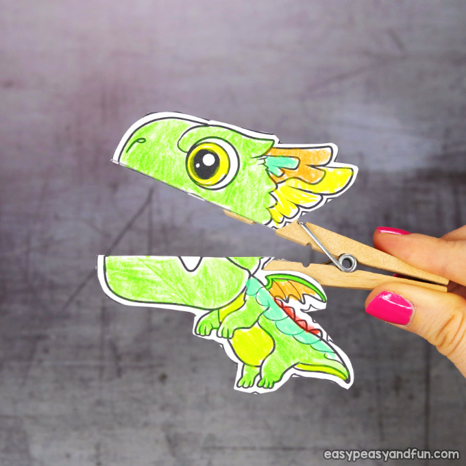 Clothespin Dragon Puppet