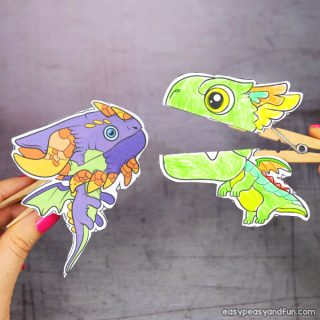 Clothespin Dragon Puppets Printable