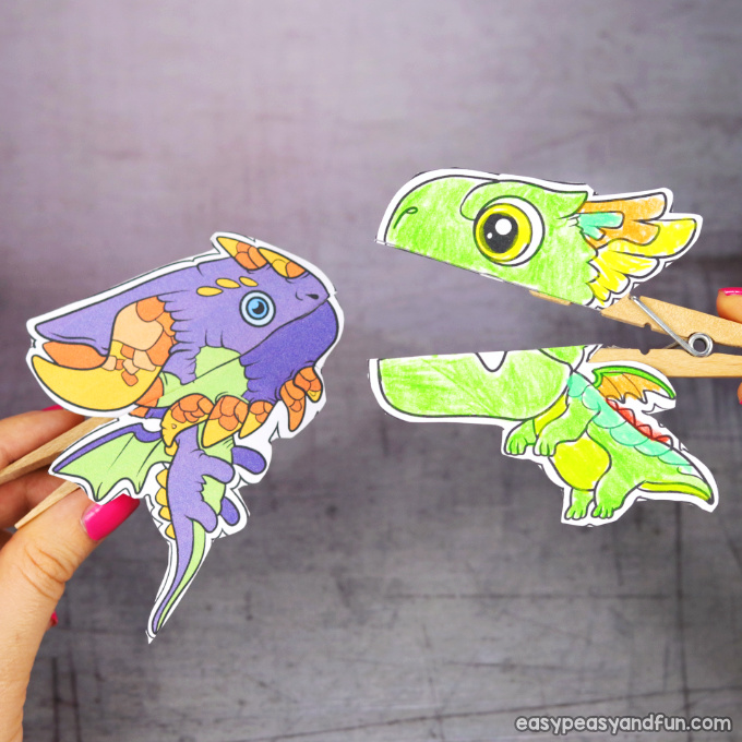 Clothespin Dragon Puppets Printable