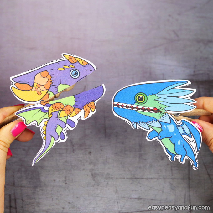 Clothespin Dragon Puppets