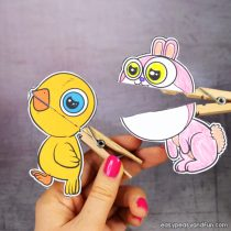Chick and Bunny Clothespin Puppets