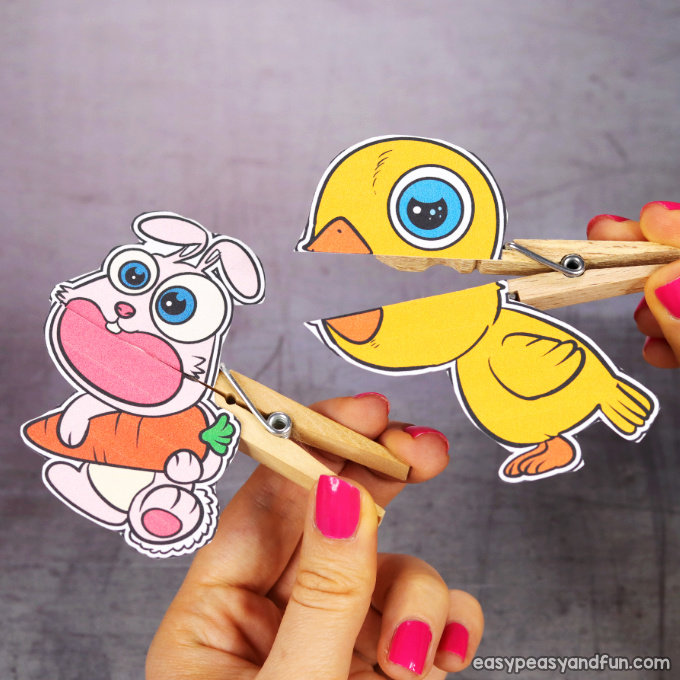 Clothespin Easter Puppets Printable