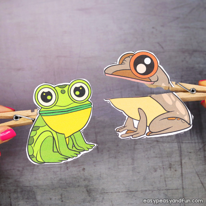Clothespin Frog Puppets Printable