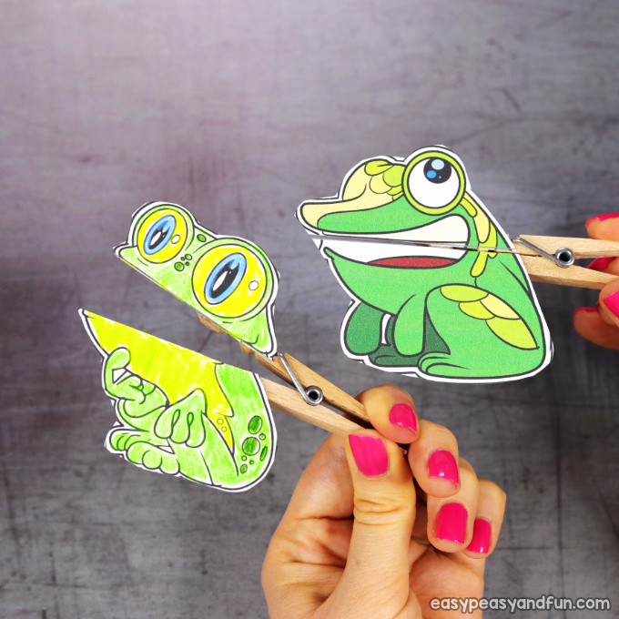 Clothespin Frog Puppets