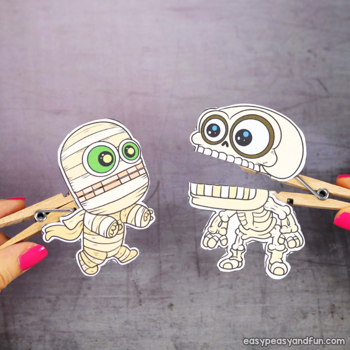 Clothespin Halloween Puppets Printable