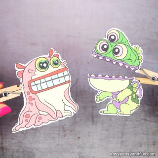 Clothespin Monster Puppets Printable