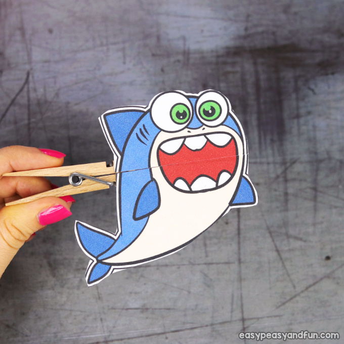 Clothespin Shark Puppet Printable