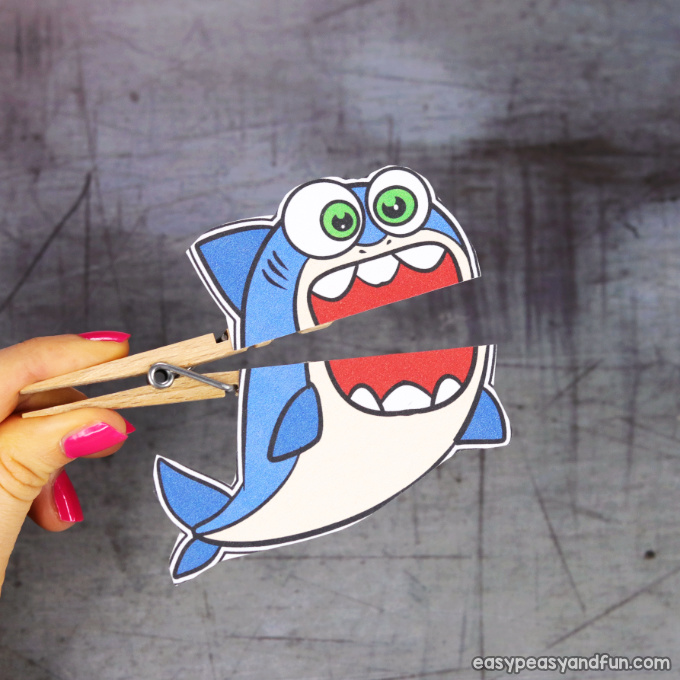 Clothespin Shark Puppet