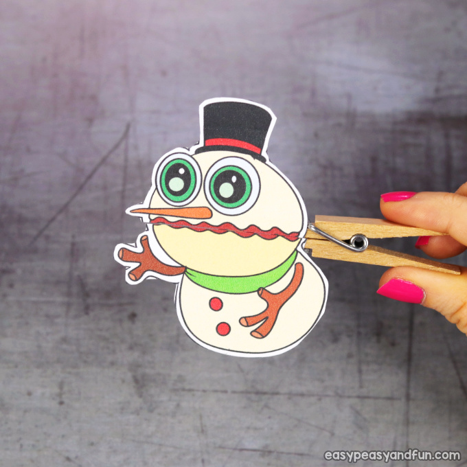 Clothespin Snowman Puppet Printable