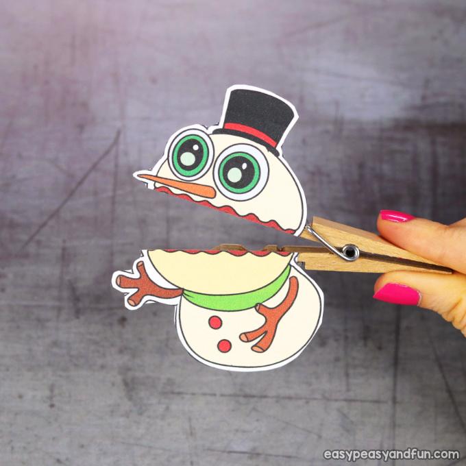 Clothespin Snowman Puppet