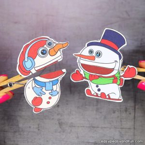 Clothespin Snowman Puppets Printable