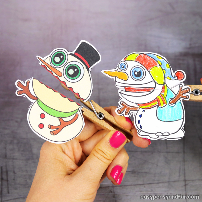 Clothespin Snowman Puppets