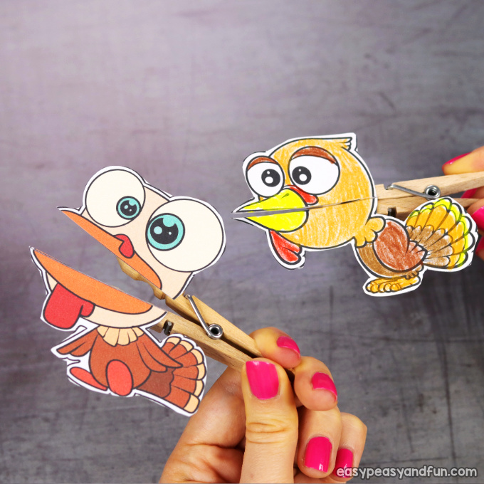 Clothespin Turkey Puppets
