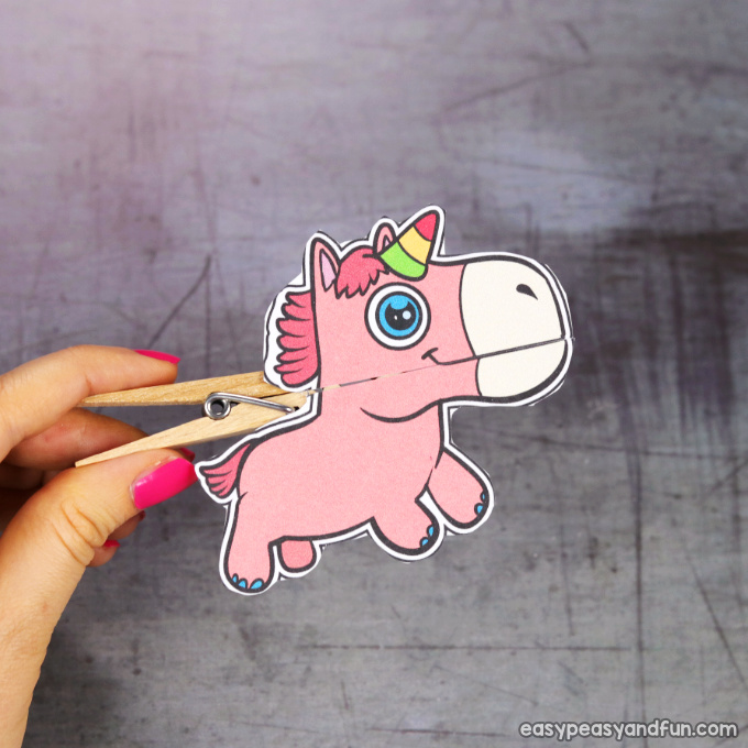 Clothespin Unicorn Puppet Printable