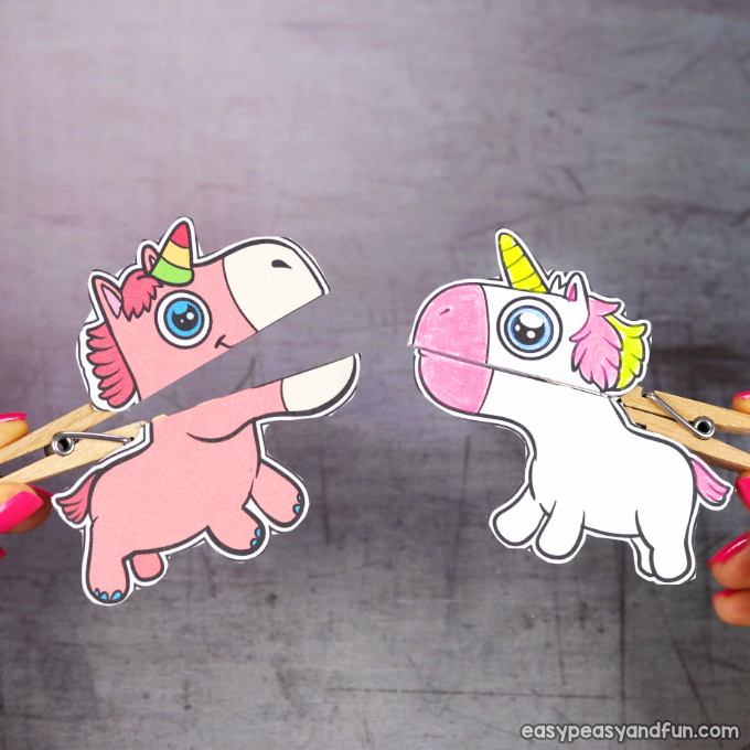 Clothespin Unicorn Puppets