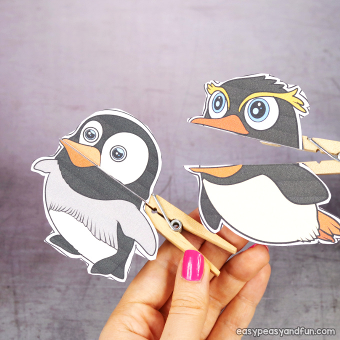 Clothespin penguin Puppets Printable