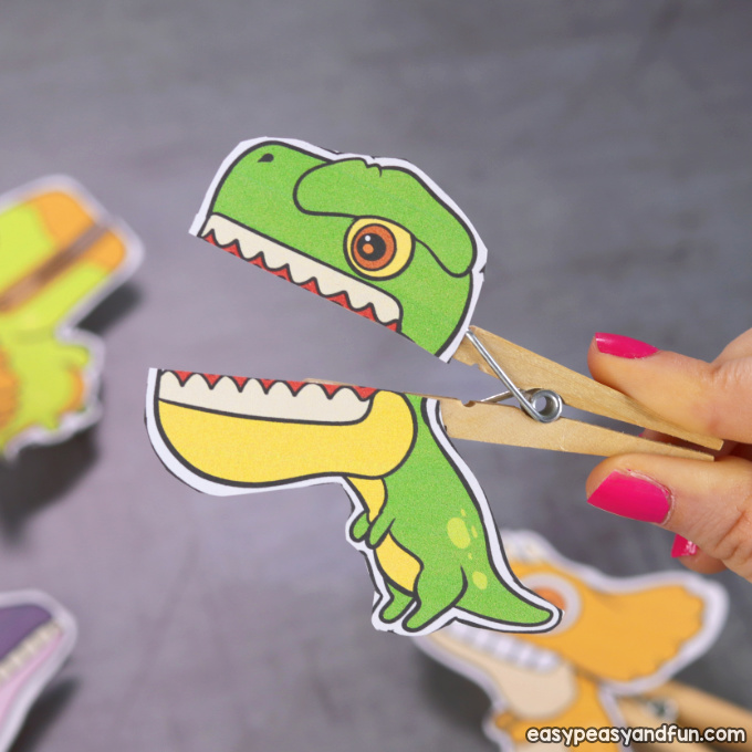 Printable T-rex Clothespin Puppet