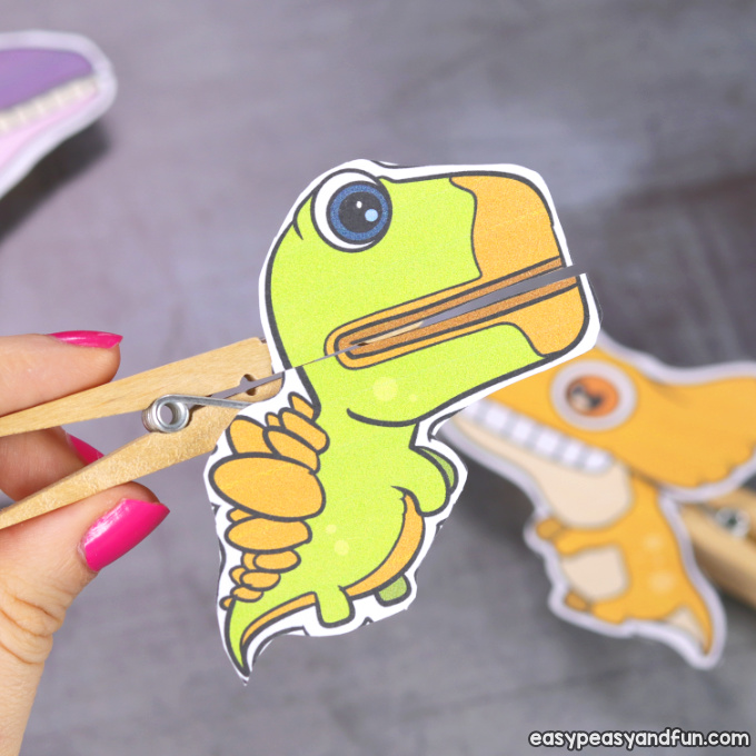 Dinosaurs Clothespin Puppets Printable Paper Craft