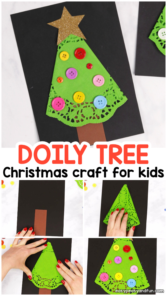 Doily Christmas Tree Craft Idea for Kids