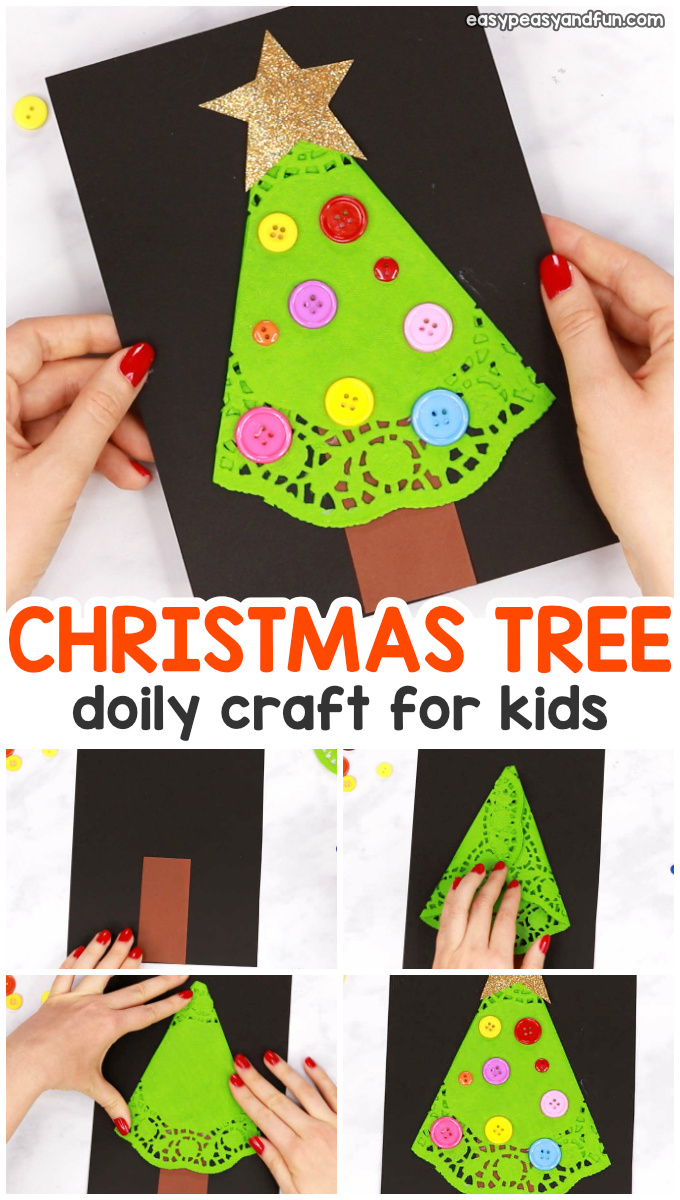 Doily Christmas Tree Craft for Kids
