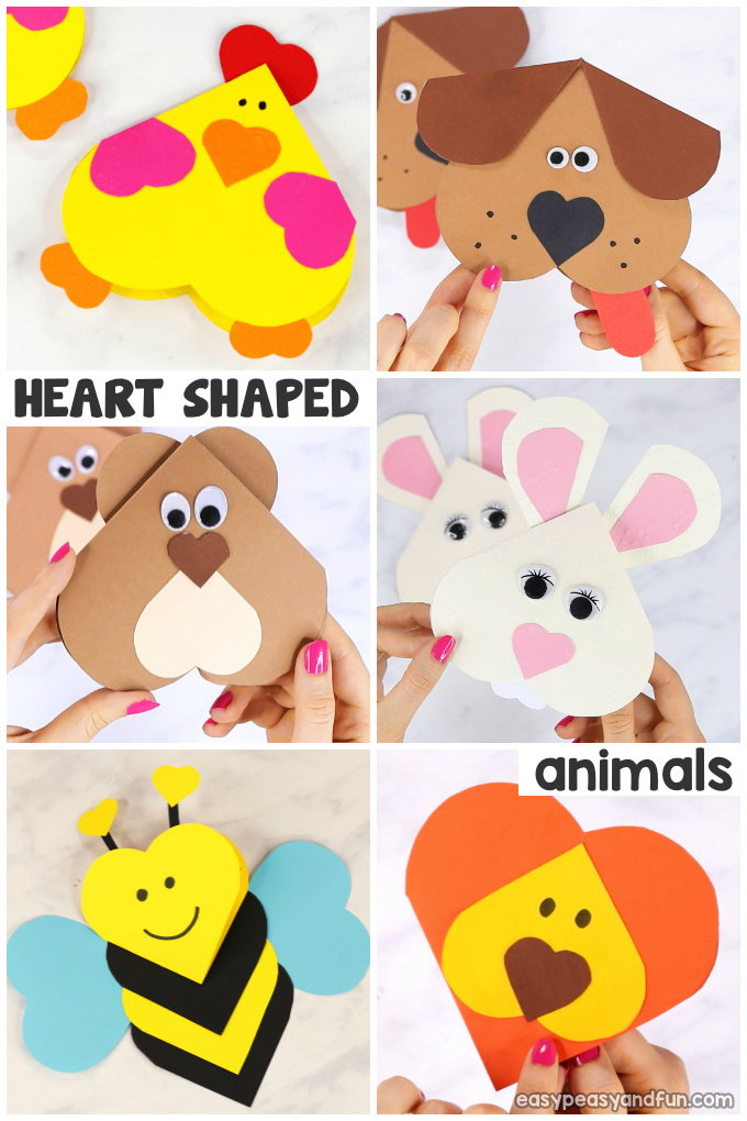 Heart Animals Crafts for Kids