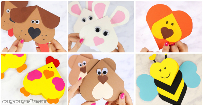 Heart Animals Valentines Day Crafts for Kids