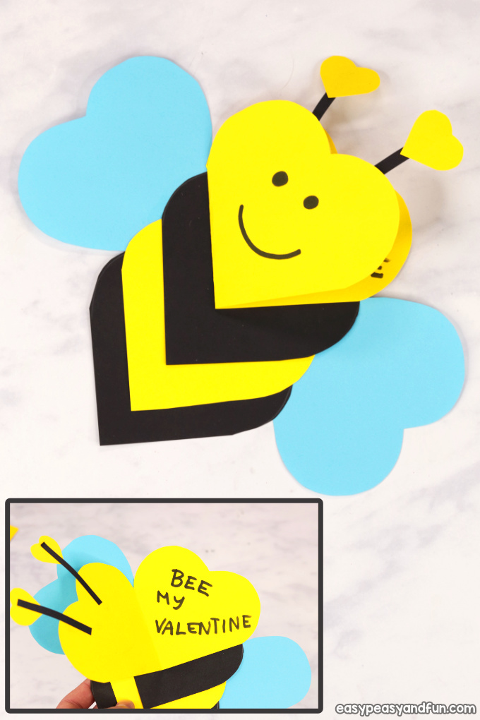Heart Bee Craft - Easy Valentines Day Card Idea for Kids