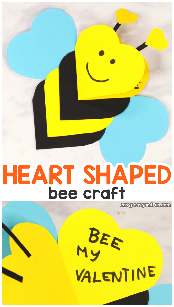 Heart Bee Valentines Day Craft for Kids - Heart Animals Cards