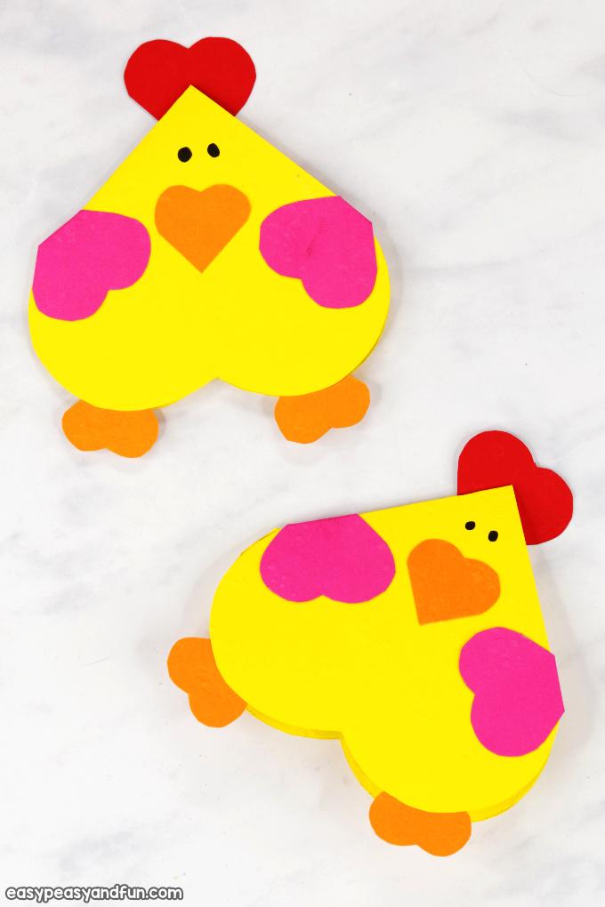 Heart Chicken Craft for Kids