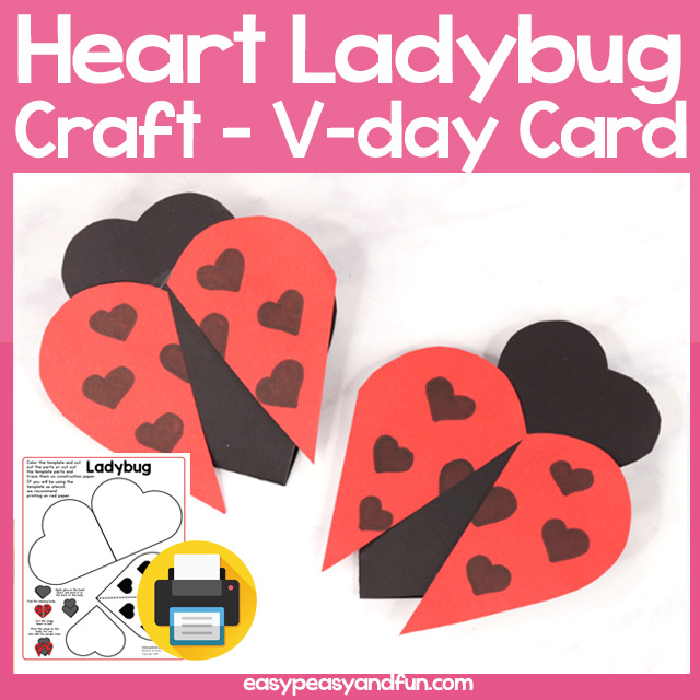 Get The Heart Ladybug Craft Template
