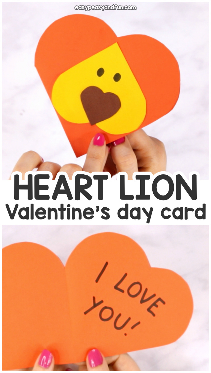 Heart Lion Valentines Day Card for Kids - Heart Shaped Animals Crafts