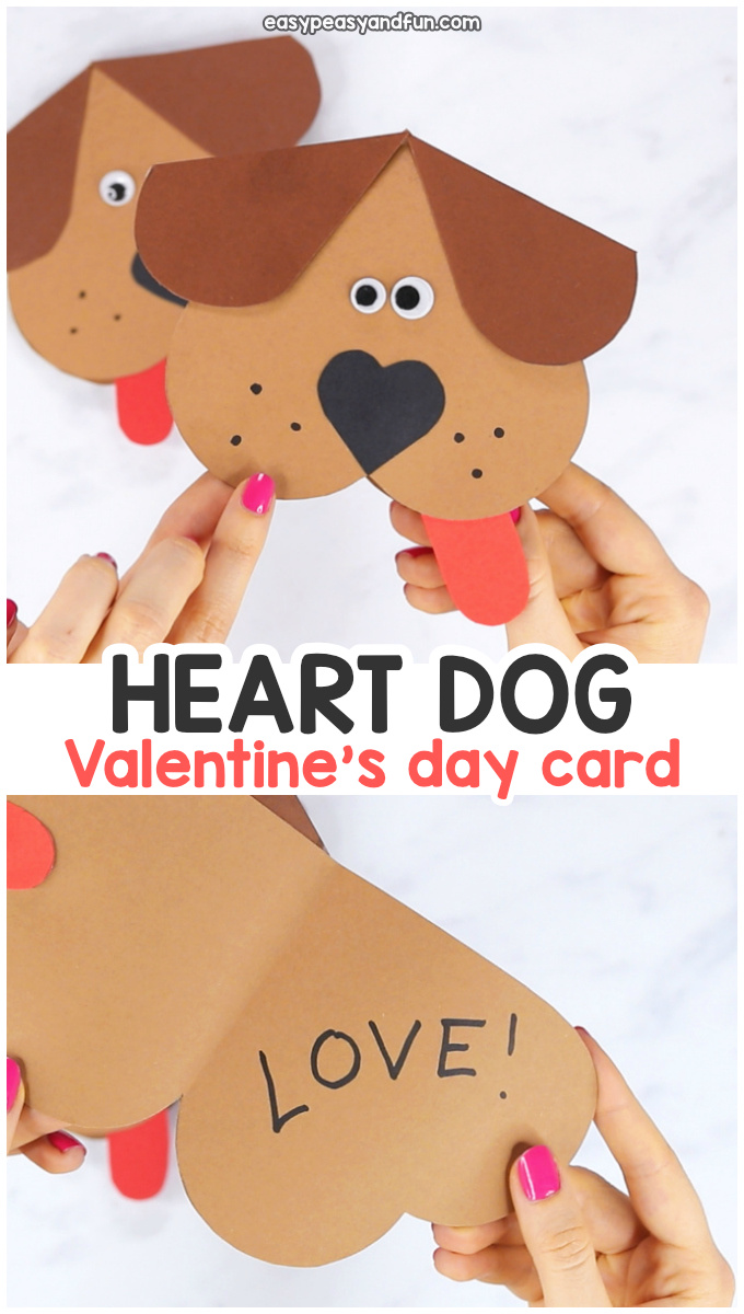 Heart dog Valentines day craft for kids.