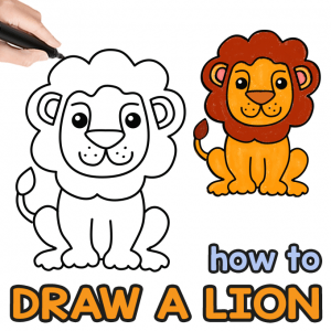 Lion Directed Drawing Guide