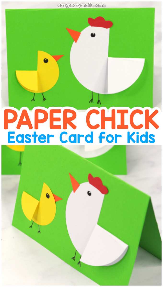 Paper Circle Hen and Chick Craft - Easter Card Idea - great craft for kindergarten and even preschool