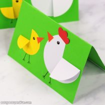 Paper Circle Hen and Chick Craft – Easter Card Idea