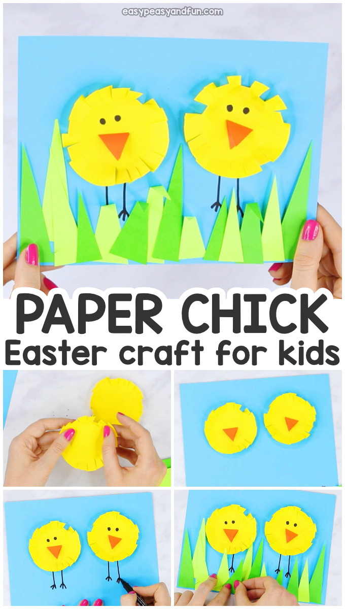 Paper Circle Easter Chick Craft for Kids - Paper Collage Art Idea for Preschool and Kindergarten