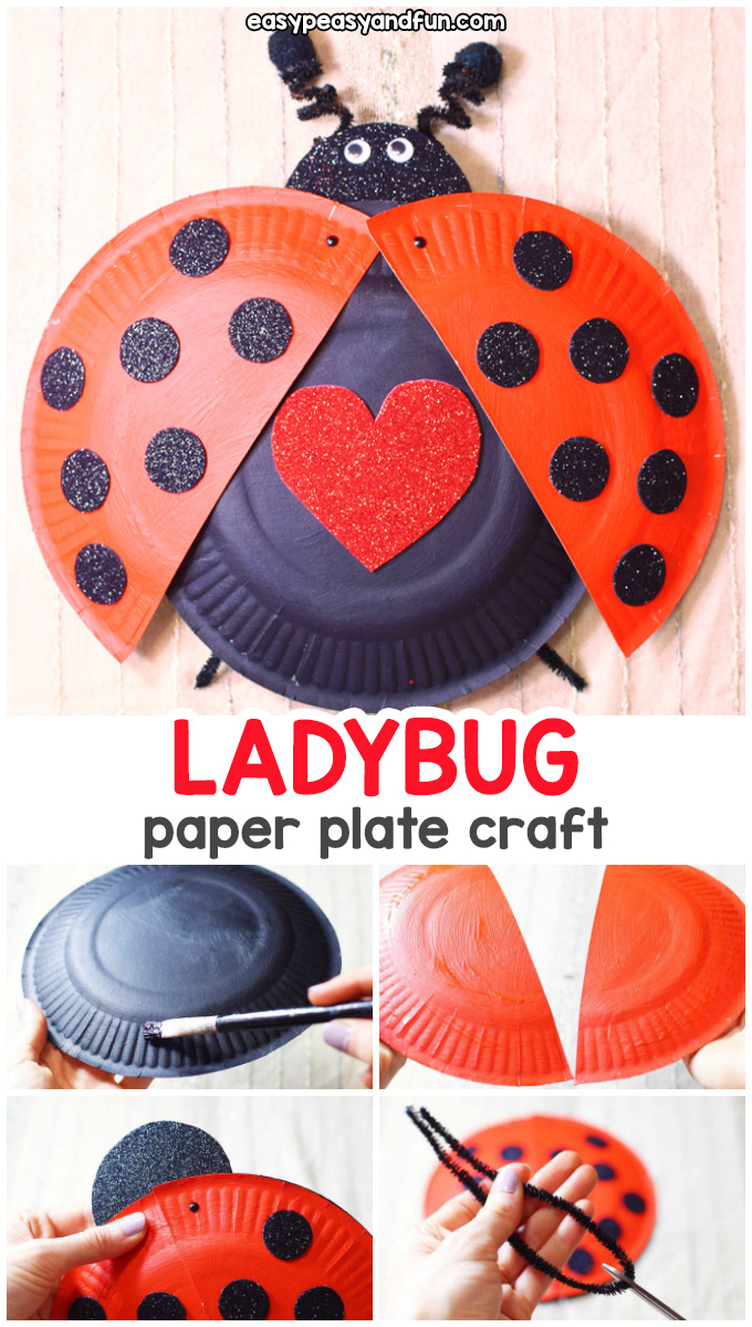 Paper Plate Ladybug Craft - fun spring craft for kindergarten