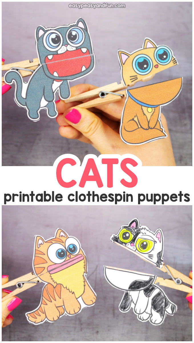 Printable Cats Clothespin Puppets