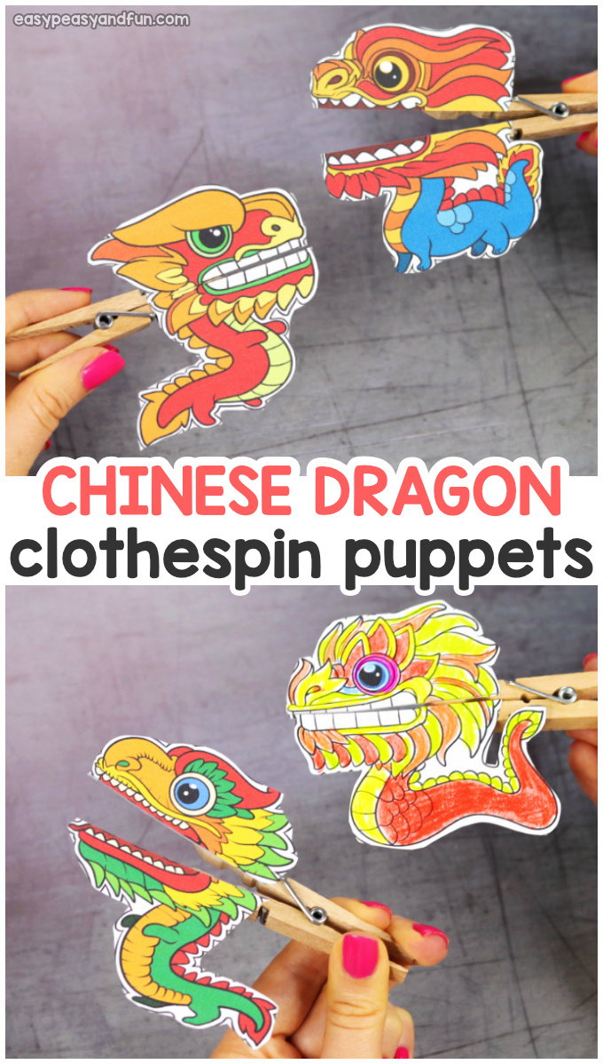 Printable Chinese Dragon Clothespin Puppets - Chinese new year crafts for kids