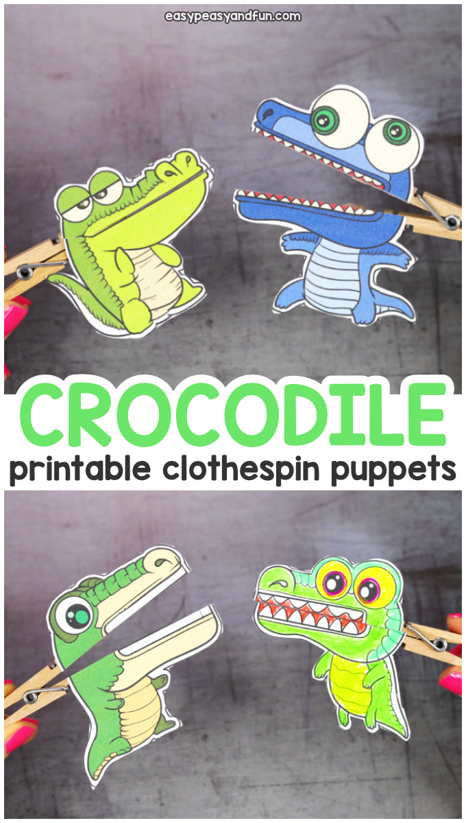 Printable Crocodile Clothespin Puppets