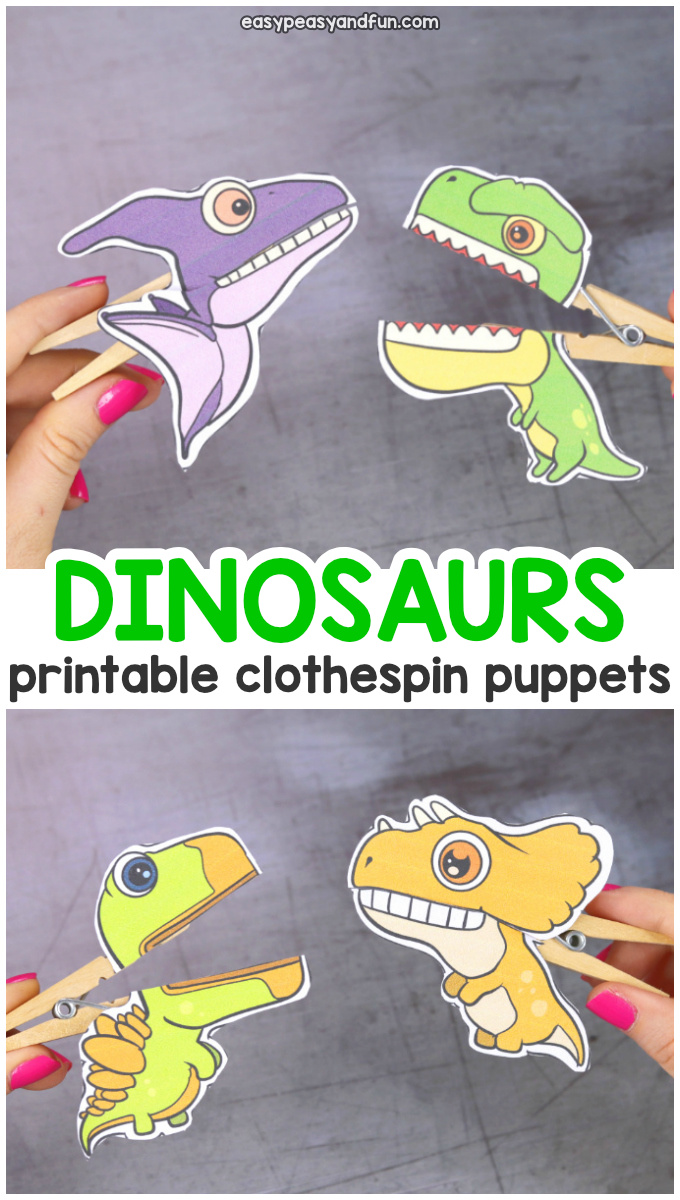 Printable Dinosaurs Clothespin Puppets for Kids #easypeasyandfun