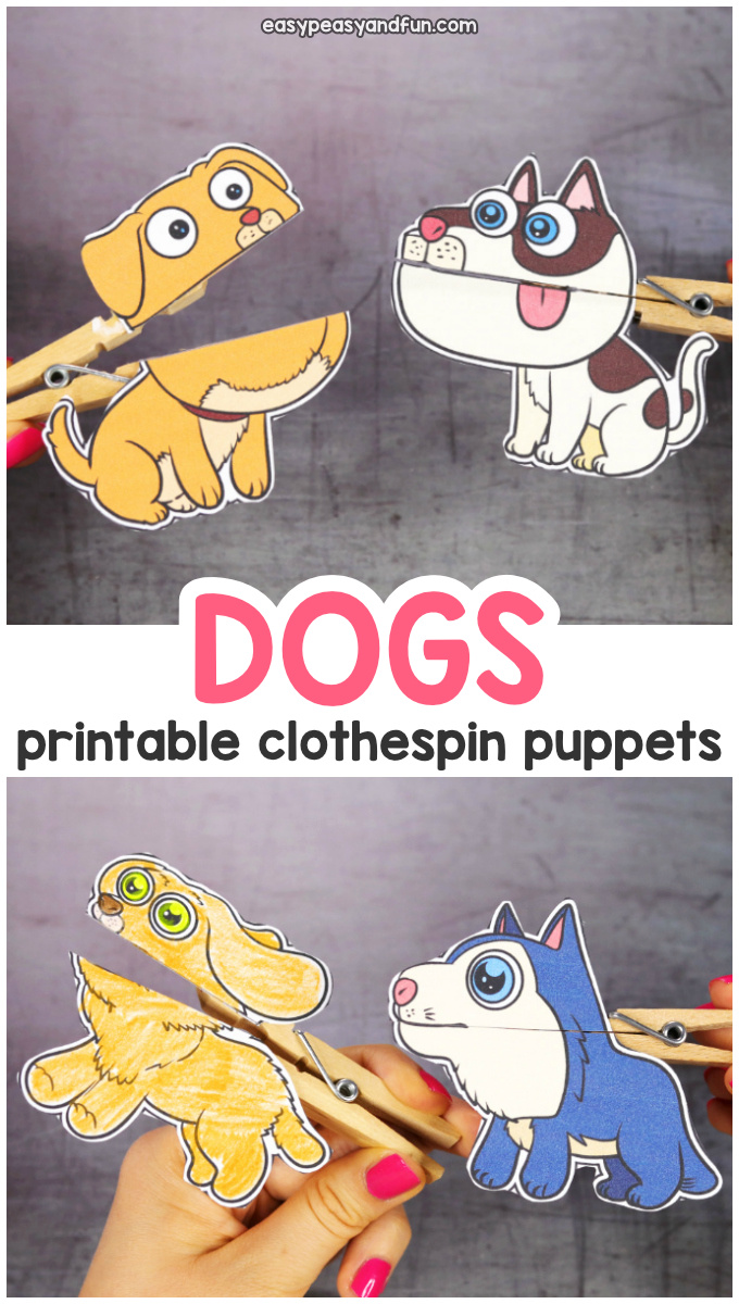 Printable Dogs Clothespin Puppets