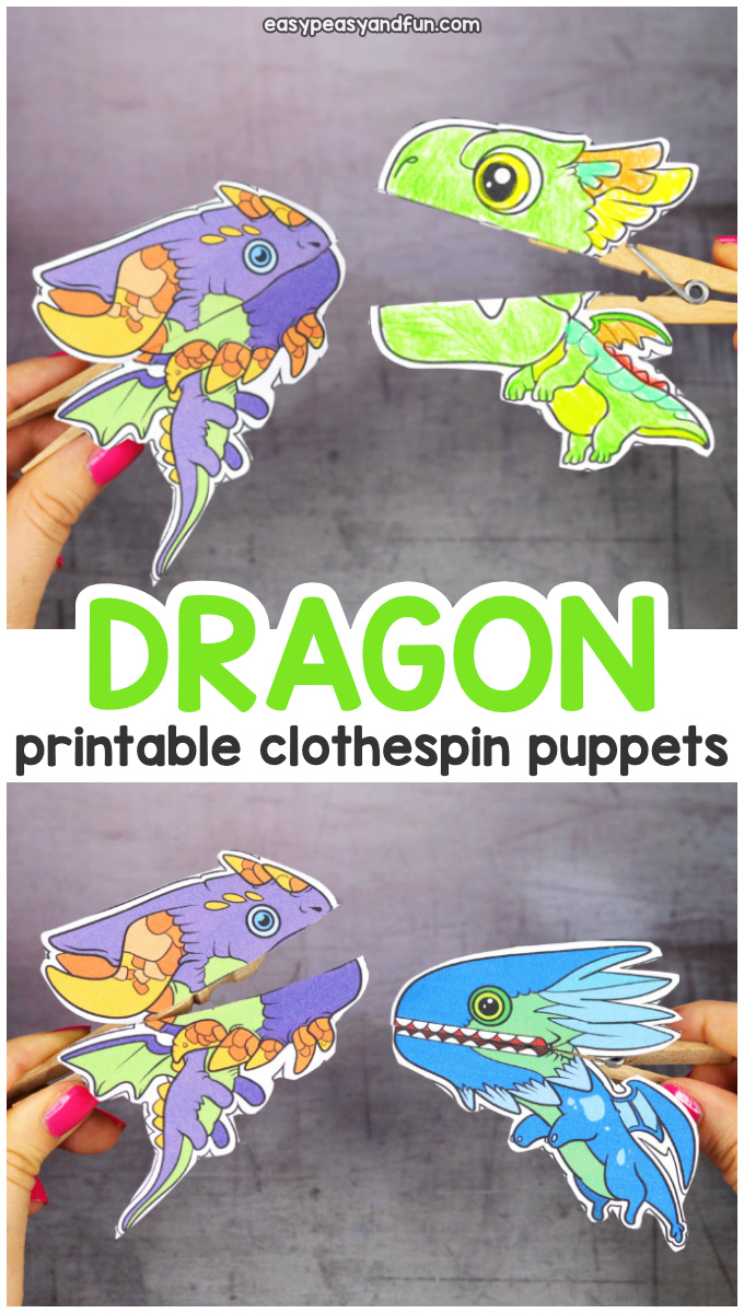Printable Dragon Clothespin Puppets