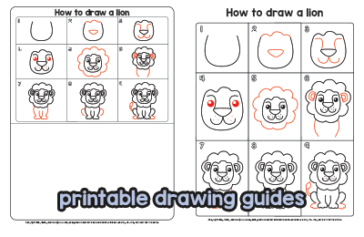 Printable Drawing Guides - Lion