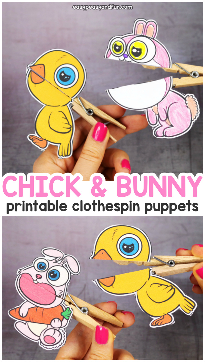 Printable Easter Clothespin Puppets - craft for Kids perfect for Easter